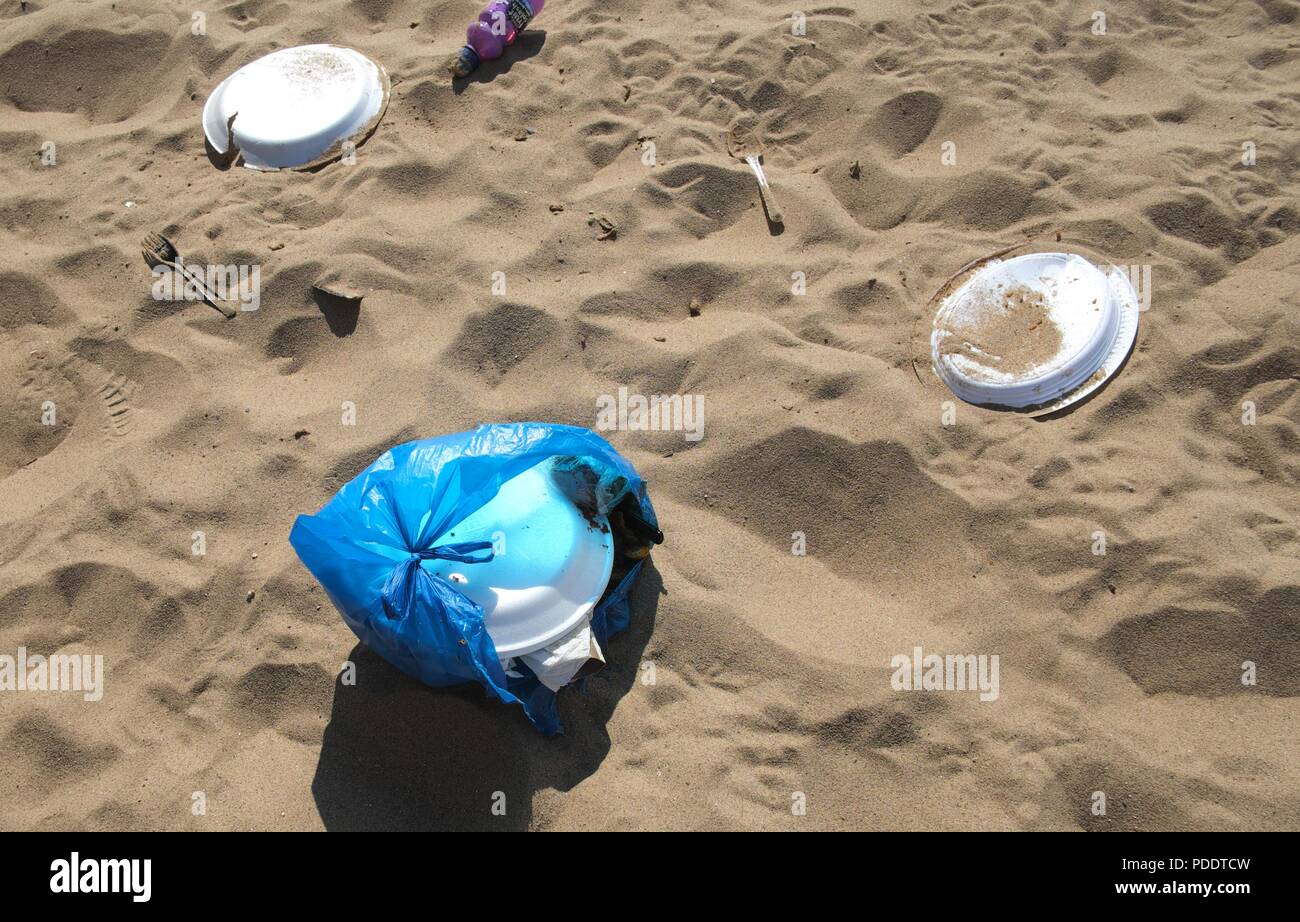 Rubbish left on the beach,Skegness,Lincolnshire,England,UK - Stock Image