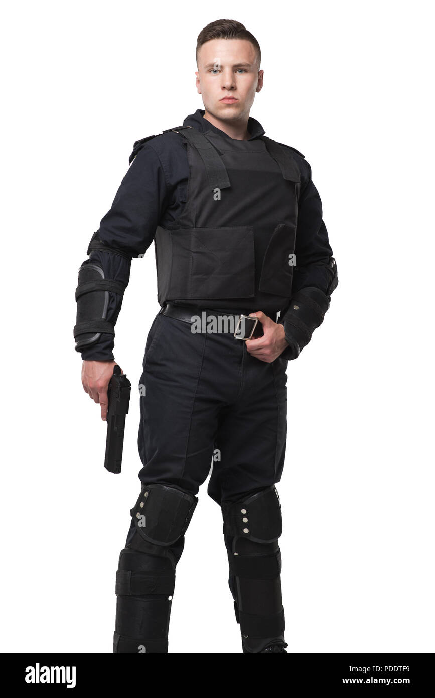 Armed special force soldier in black uniform - Stock Image