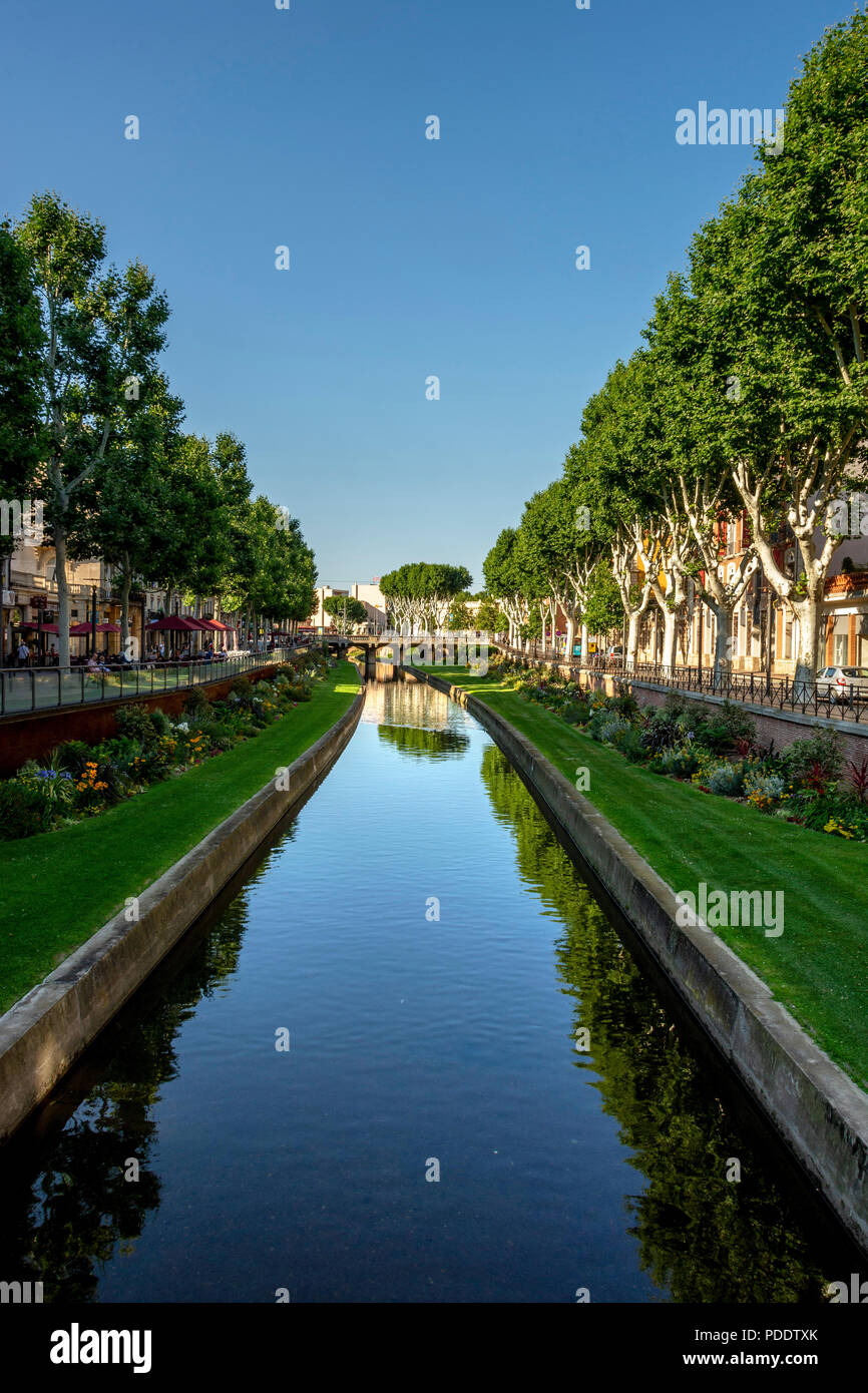 View of the canal of Perpignan, Pyrénées-Orientales, Occitanie, France - Stock Image