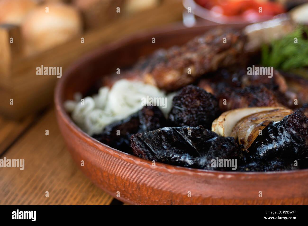 black pudding, Ukrainian food - Stock Image