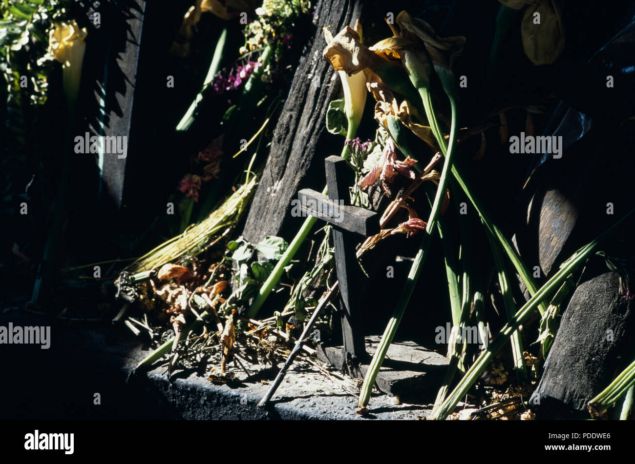 Close-up of Ixil Maya crosses in ceremonial site in Nebaj, Guatemala - Stock Image