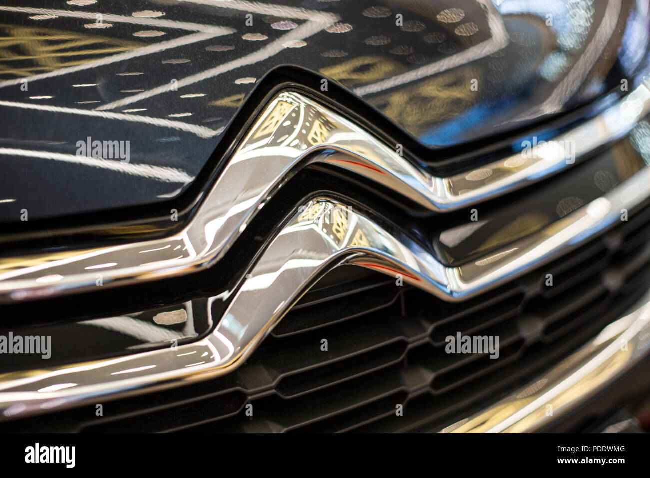 France, Paris August 1, 2018 Citroen logo on Citroen c4 - Stock Image