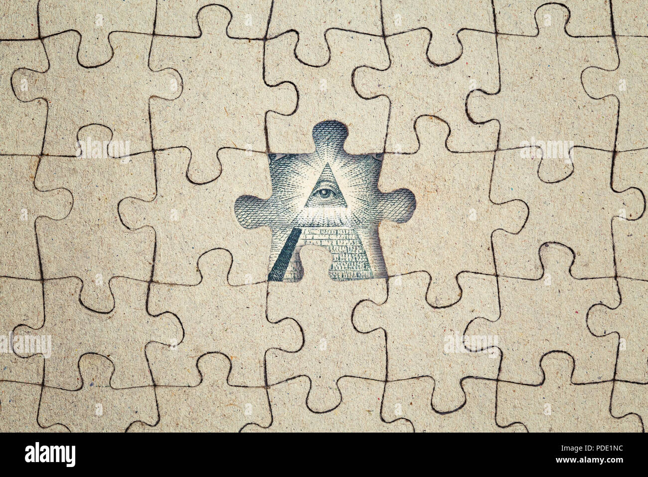 Missing Jigsaw Puzzle Piece And Dollar Pyramid All Seeing Eye Inside