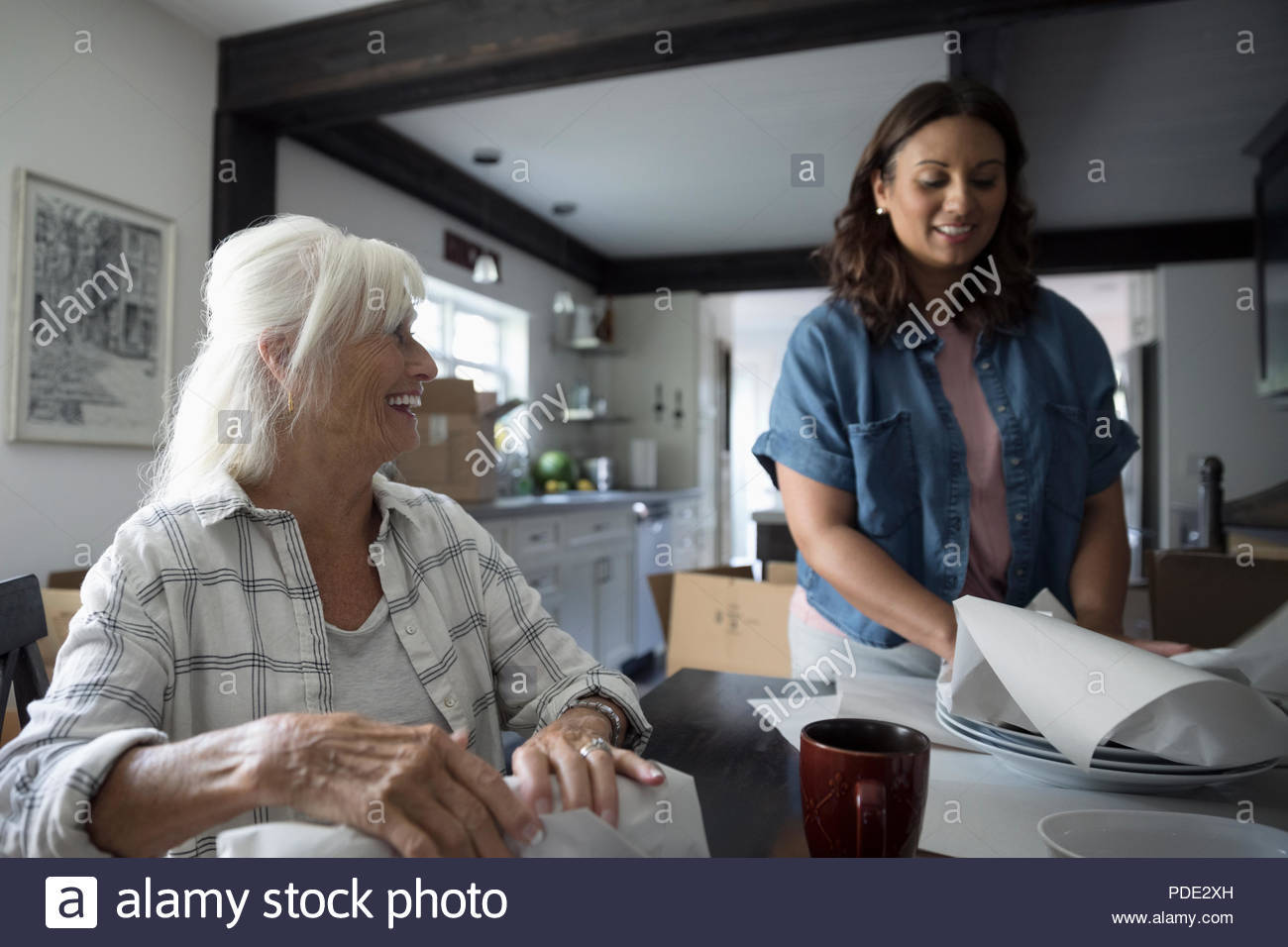 Smiling daughter helping senior mother downsize, packing dishes - Stock Image