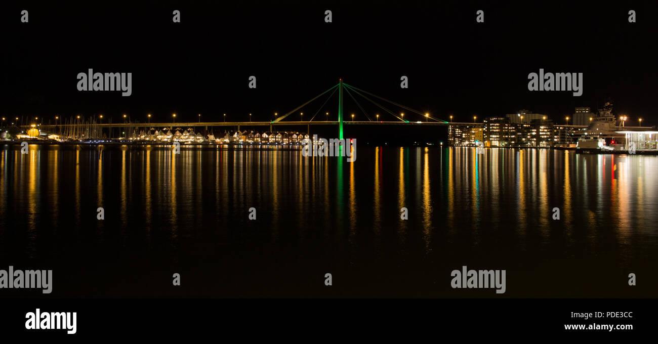Stavanger City Bridge taken on a winters night. Stavanger, Norway. - Stock Image