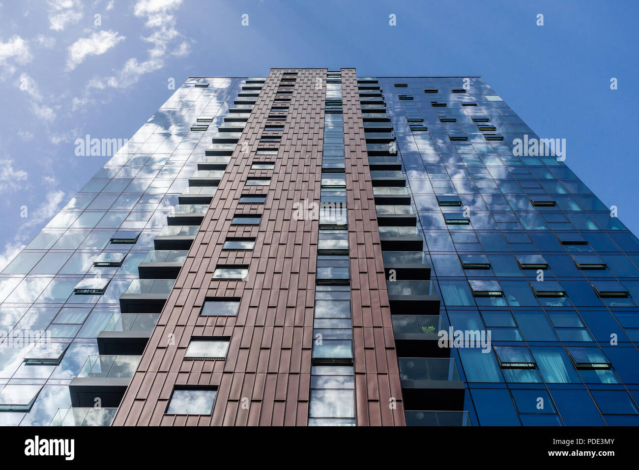 Abstract view of the MoresbyTower - a 24 storey high rise residential building offering luxury accommodation in Southampton, Hampshire, England, UK - Stock Image
