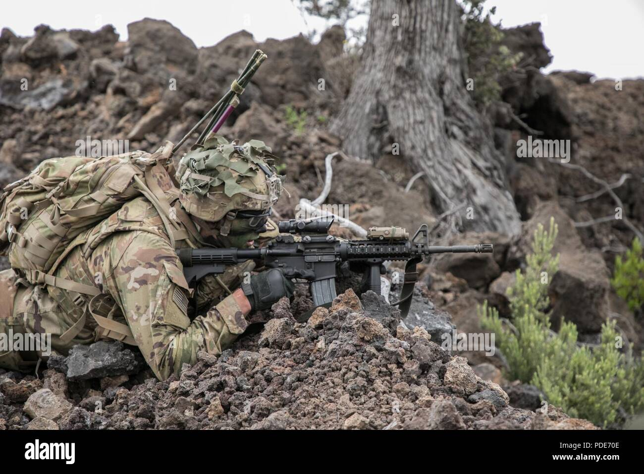 U.S. Army Trooper assigned to 2nd Squadron, 14th Calvary Regiment, 2nd Infantry Brigade Combat Team, 25th Infantry Division provides cover-fire during a Combined Arms Live Fire Exercise (CALFEX) at Pohakuloa Training Area, Hawaii, May 15, 2018. The CALFEX utilizes all the enablers available to the unit in order to increase interoperability, concentrate combat power and mass effects on the objective. - Stock Image