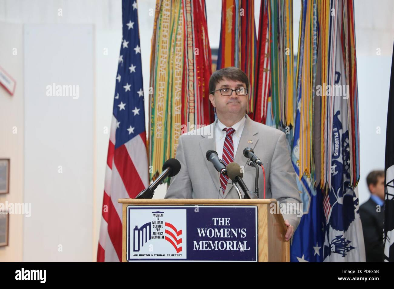 Veterans Affairs Acting Secretary Robert Wilkie delivers a speech at the Women in the Military Wreath Laying Ceremony in Arlington, Virginia, May 17, 2018. The ceremony, which was held at the Women in Military Service for America Memorial, honored our nation's servicewomen and women veterans for their courage and achievements, and remembered women who died while on duty serving the United States. - Stock Image
