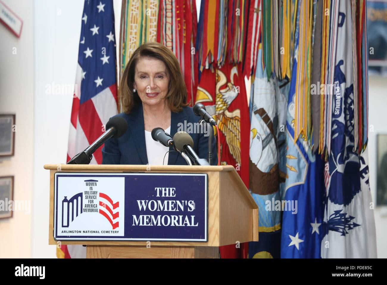 Representative Nancy P. Pelosi, the minority leader of the U.S. House of Representatives, delivers a speech at the Women in the Military Wreath Laying Ceremony in Arlington, Virginia, May 17, 2018. The ceremony, which was held at the Women in Military Service for America Memorial, honored our nation's servicewomen and women veterans for their courage and achievements, and remembered women who died while on duty serving the United States. - Stock Image
