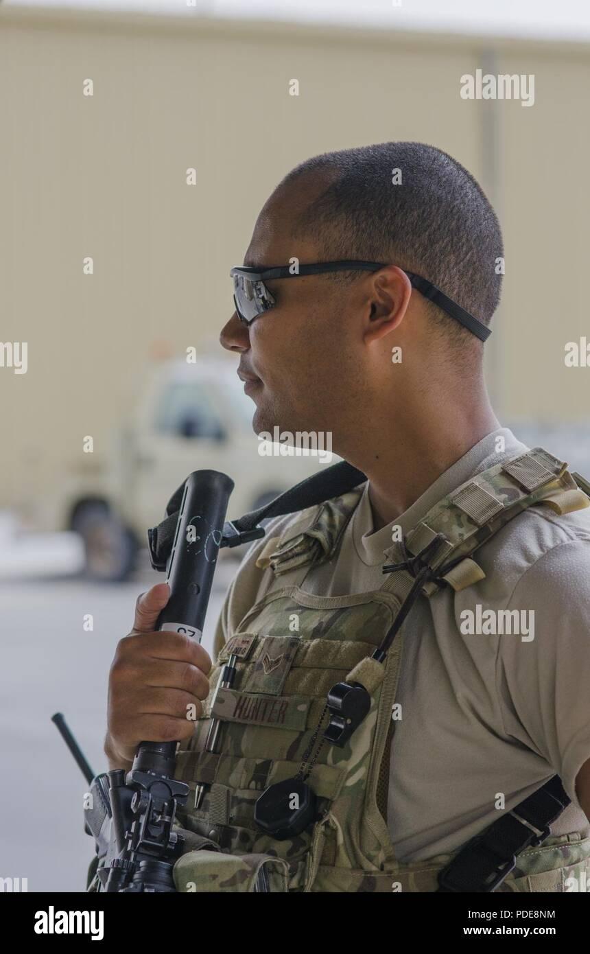 Senior Airman Alexander Hunter, 380th Security Forces, works