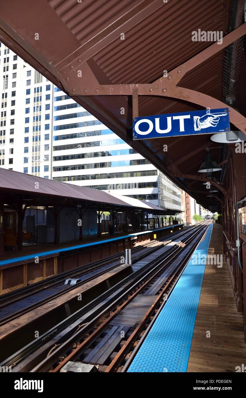 Railway Station in Chicago, Illinois, Loop, construction, train, buildings, rail network, travel, vacation, platform, destination, direction, empty - Stock Image