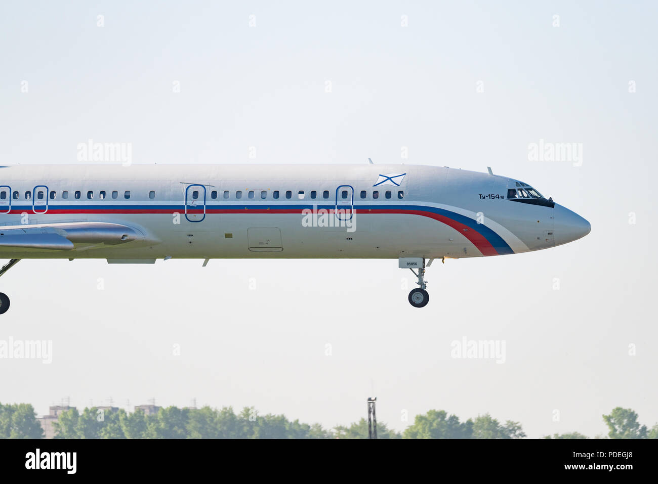 Novosibirsk, Russia – June 7, 2018: Tupolev Tu-154M RF-85856 Russia – Navy approaches for landing at the international airport Tolmachevo. - Stock Image