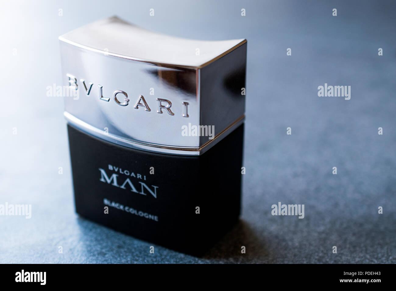 Istanbul, Turkey - February 23, 2018 Bvlgari Man Black Cologne 30ml. Cosmetic Prdouct. - Stock Image