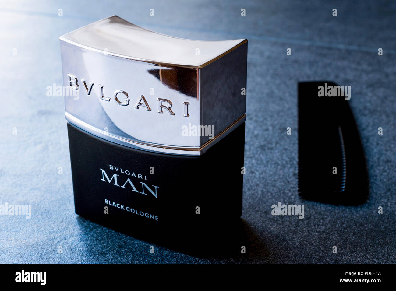 Istanbul, Turkey - February 23, 2018 Bvlgari Man Black Cologne 30ml / Parfume with Comb. Cosmetic Product. - Stock Image