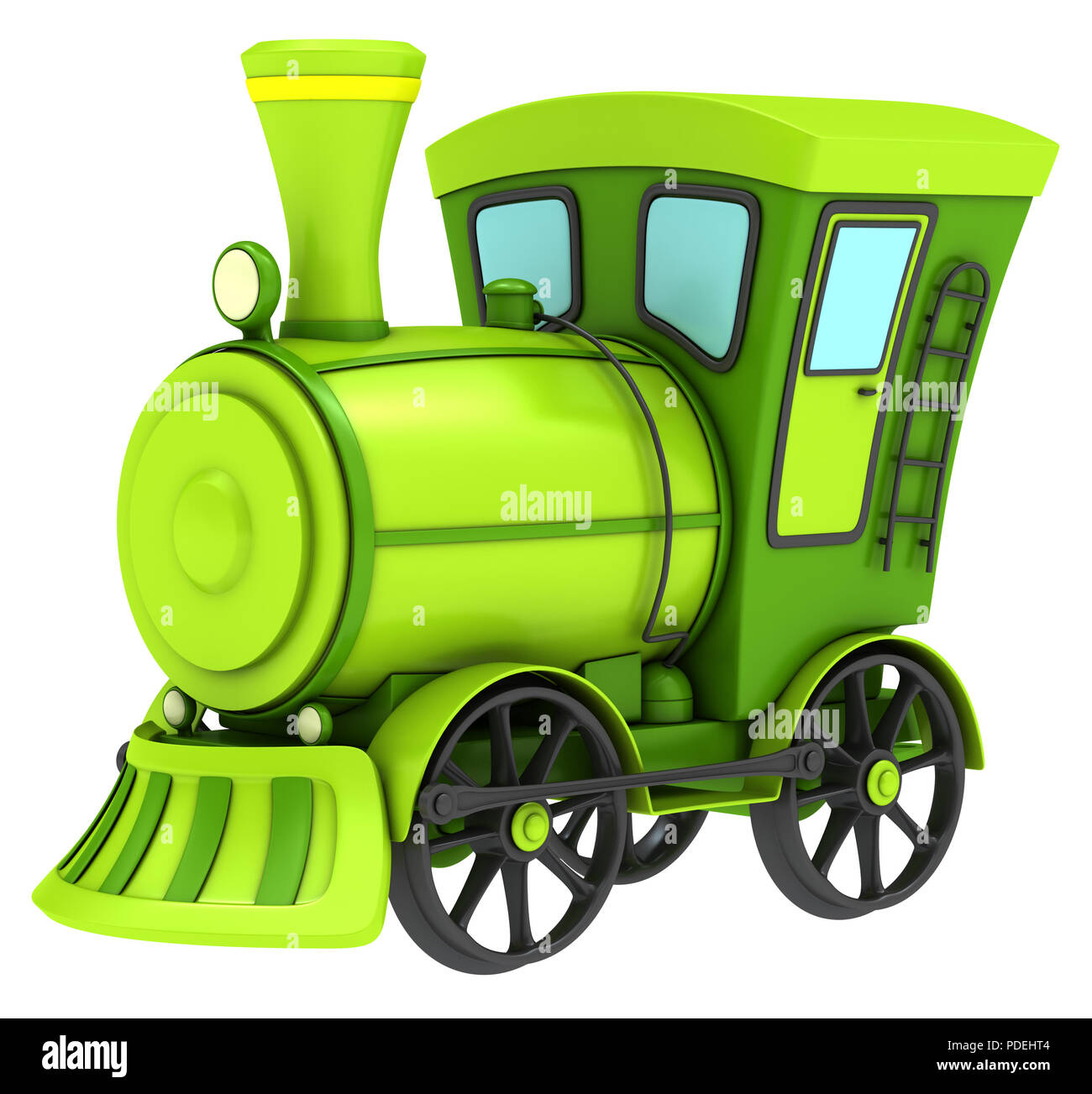 Green toy train isolated on white background. Stock Photo