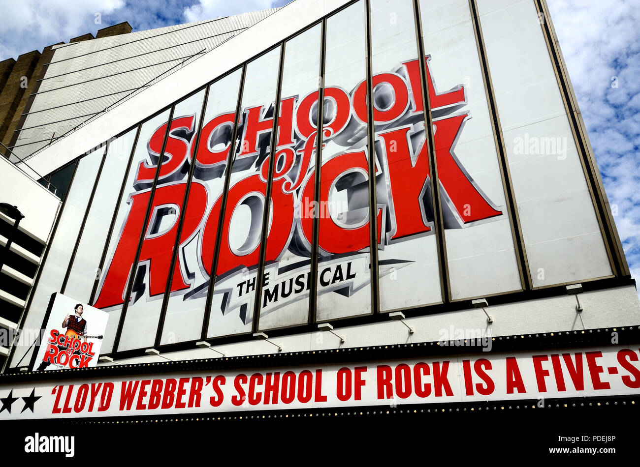 School of Rock musical (Andrew Lloyd Webber) at the Gillian Lynne Theatre (formerly New London Theatre), 166 Drury Lane, London, England, UK. (Summer  - Stock Image