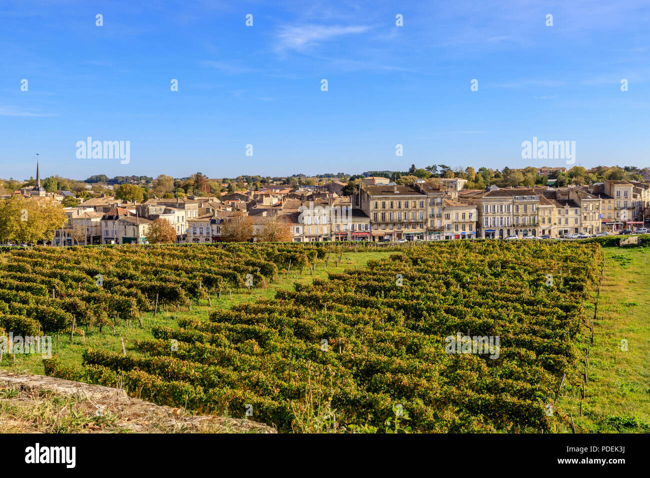 France, Gironde, Blaye, the city and the Echauguette vineyard from the citadel ramparts, Reseau des sites majeurs de Vauban (Fortifications of Vauban  - Stock Image