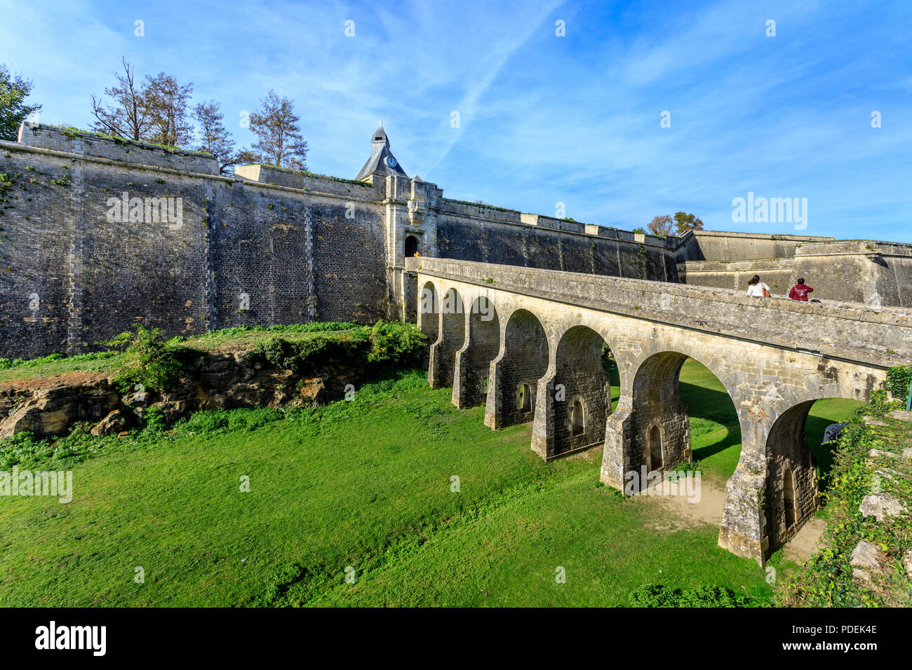 France, Gironde, Blaye, citadel, Reseau des sites majeurs de Vauban (Fortifications of Vauban UNESCO World Heritage Site), ramparts and the Porte Roya - Stock Image