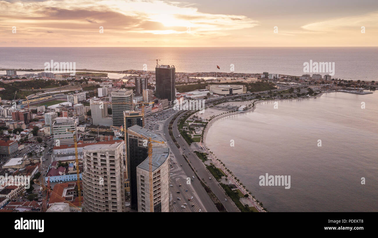 Aerial photograph of the marginal of Luanda, Angola. Africa.Difference between new and old buildings. - Stock Image