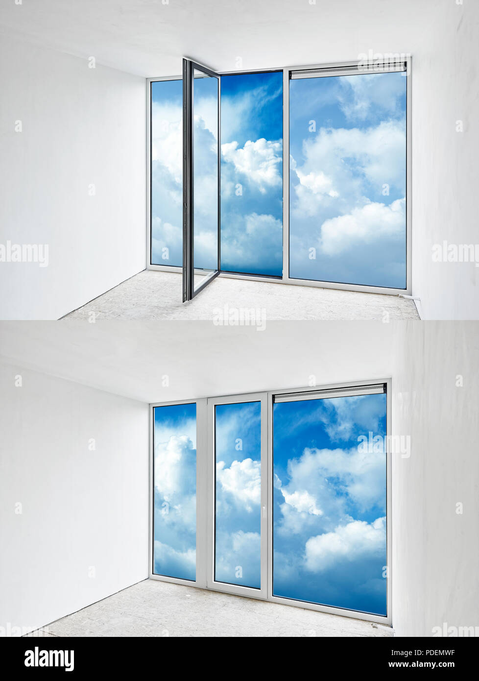 Glass Door Open And Closed On A Cloudy Blue Sky Stock Photo