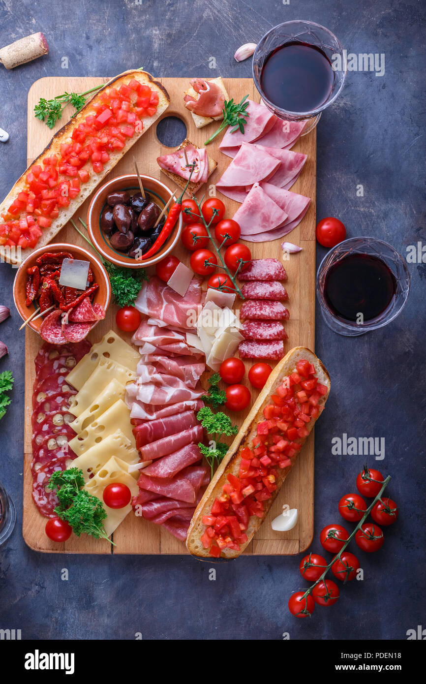 Traditional spanish tapas or italian antipasti - Stock Image