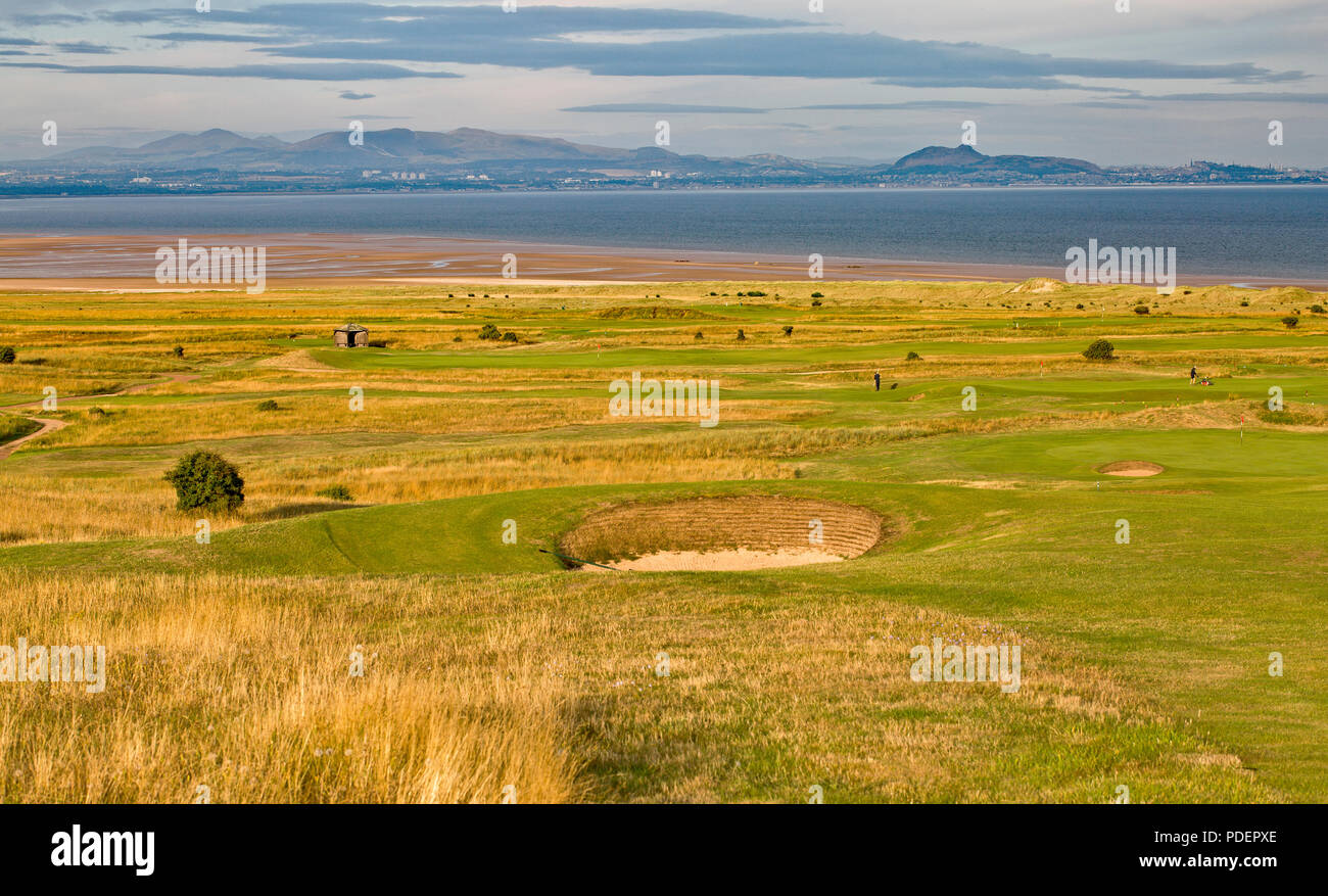 Gullane and East Lothian coastline with the Pentland Hills and Arthur's Seat, Scotland - Stock Image