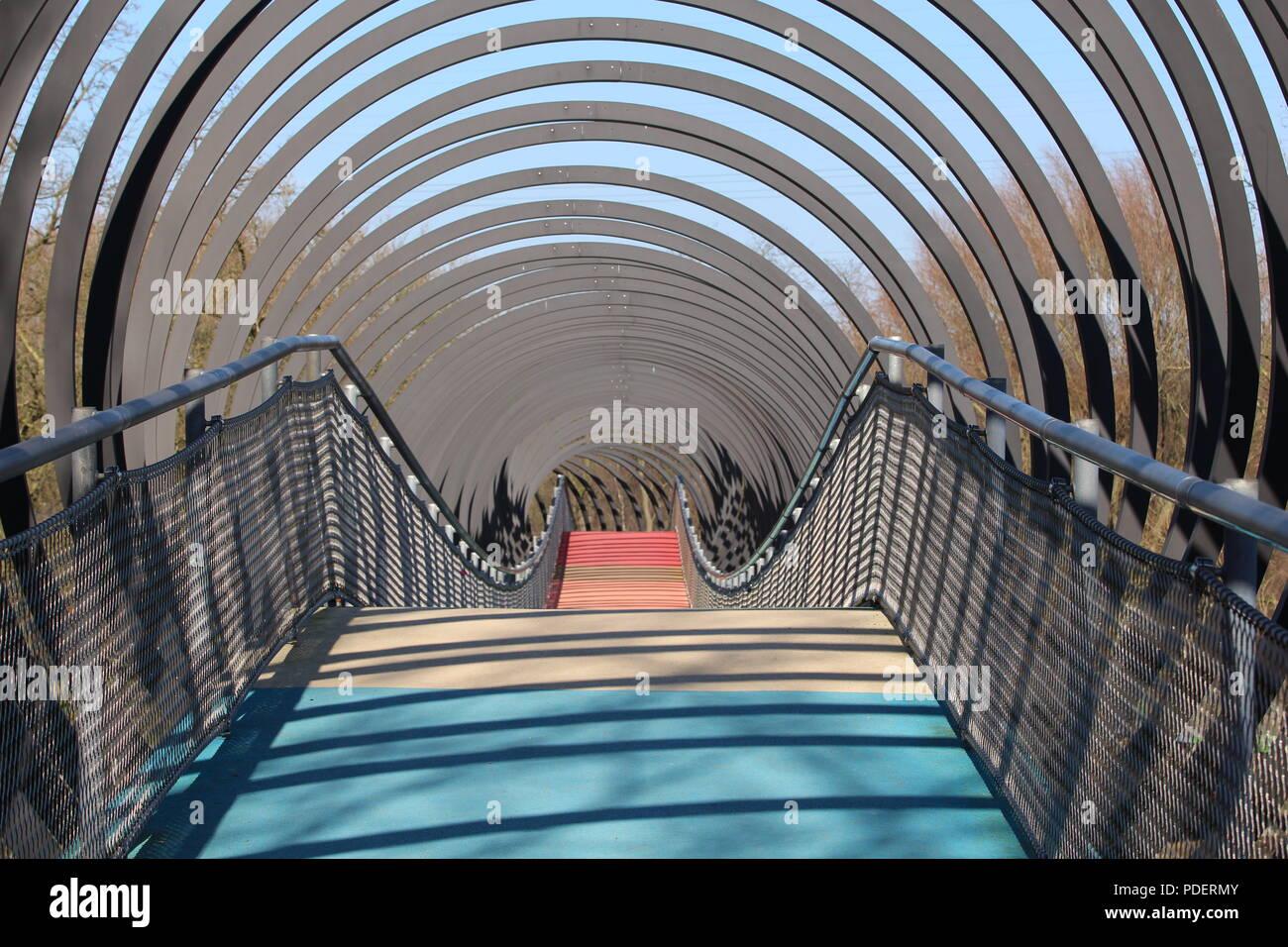 Slinky Springs to Fame Bridge in Oberhausen Ruhr Area Stock Photo