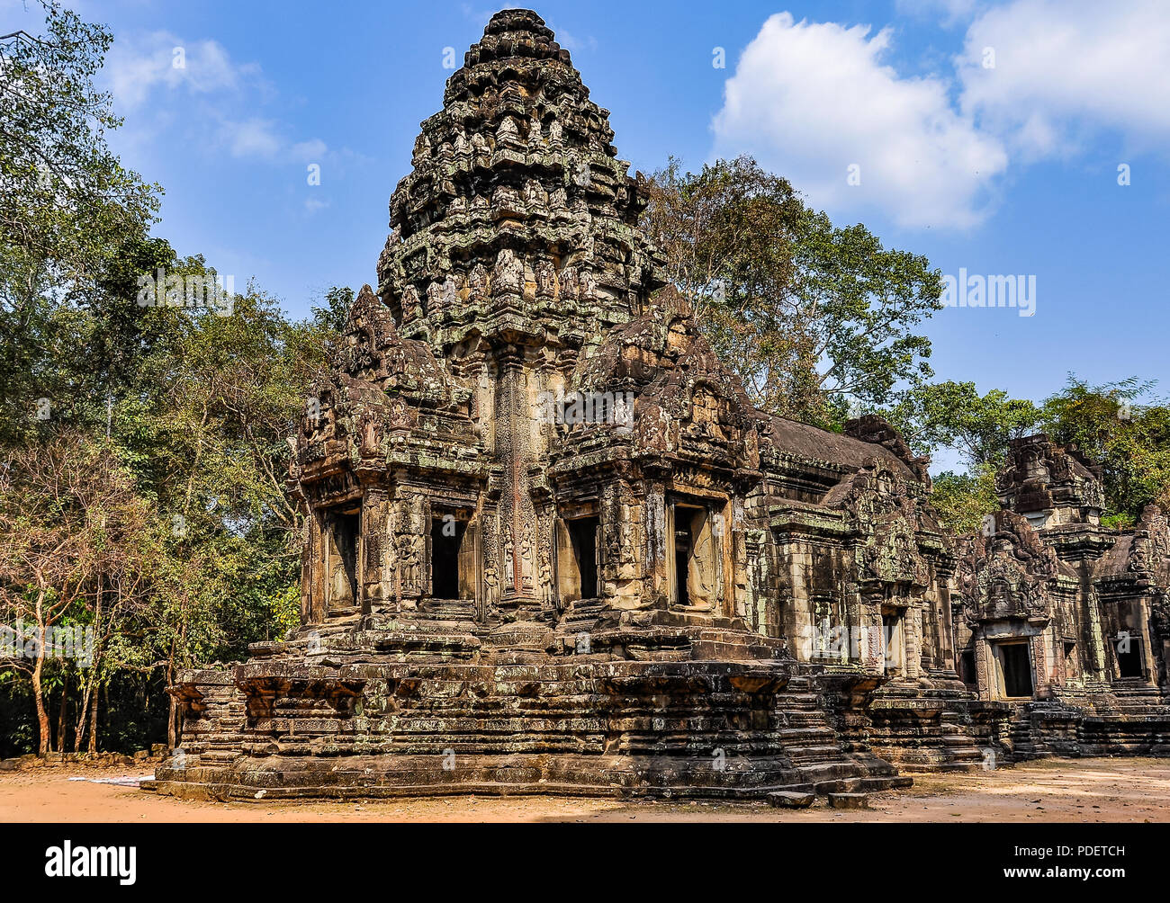 Temple in the ruins of Angkor Wat, Cambodia - Stock Image