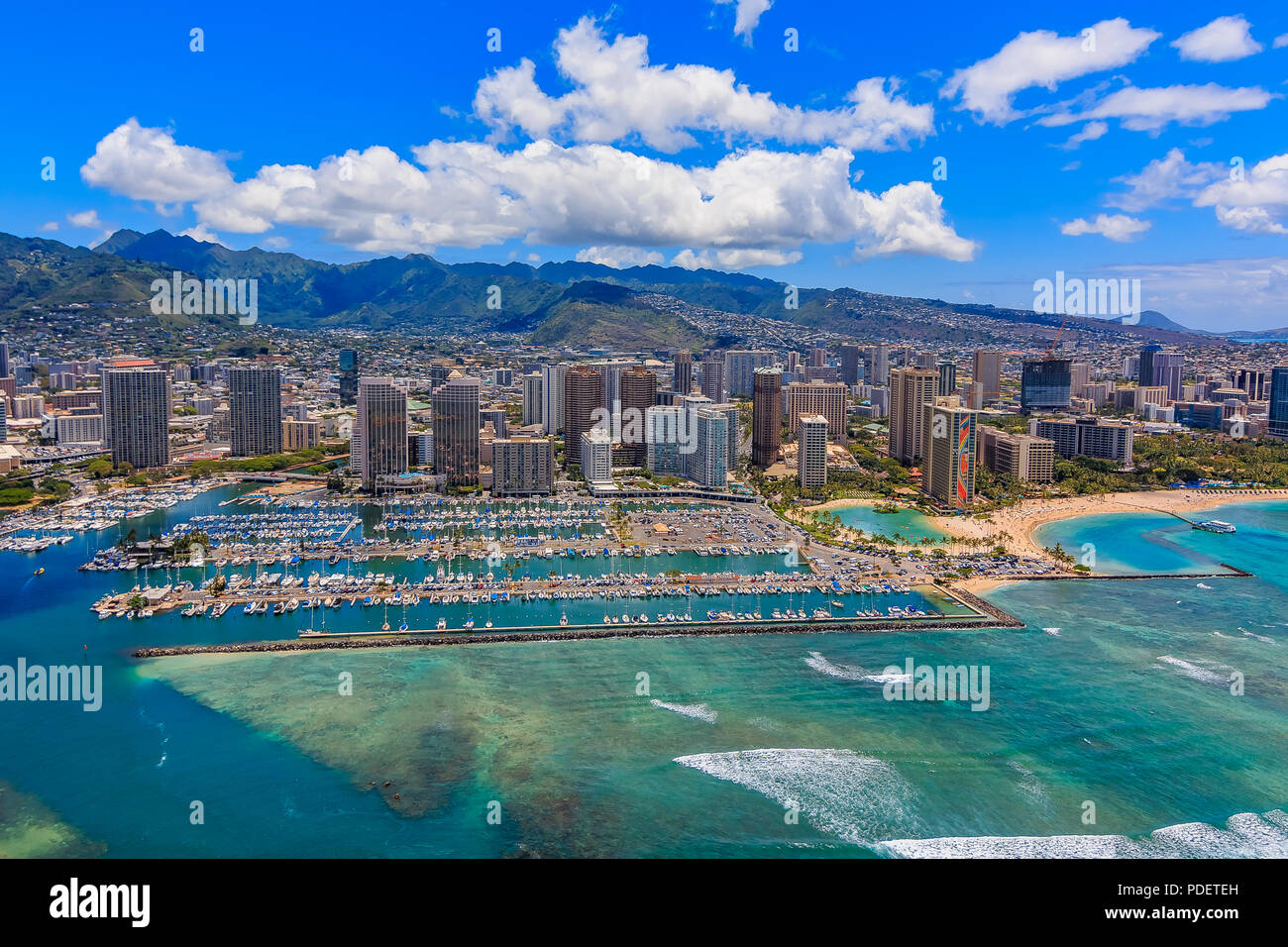 Aerial view of Waikiki Beach in Honolulu Hawaii from a helicopter - Stock Image