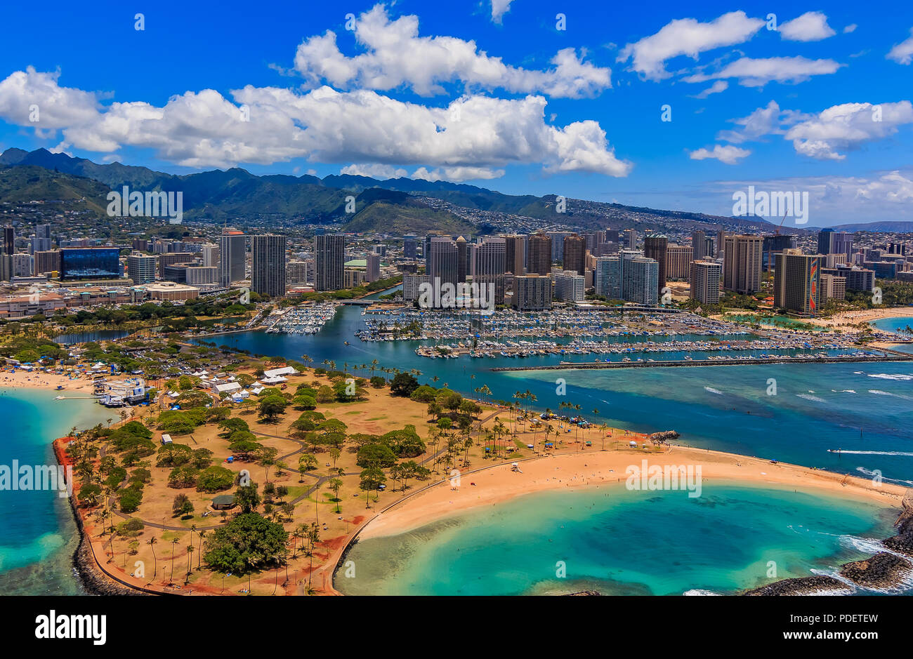 Aerial view of Ala Moana Beach Park in Honolulu Hawaii from a helicopter - Stock Image