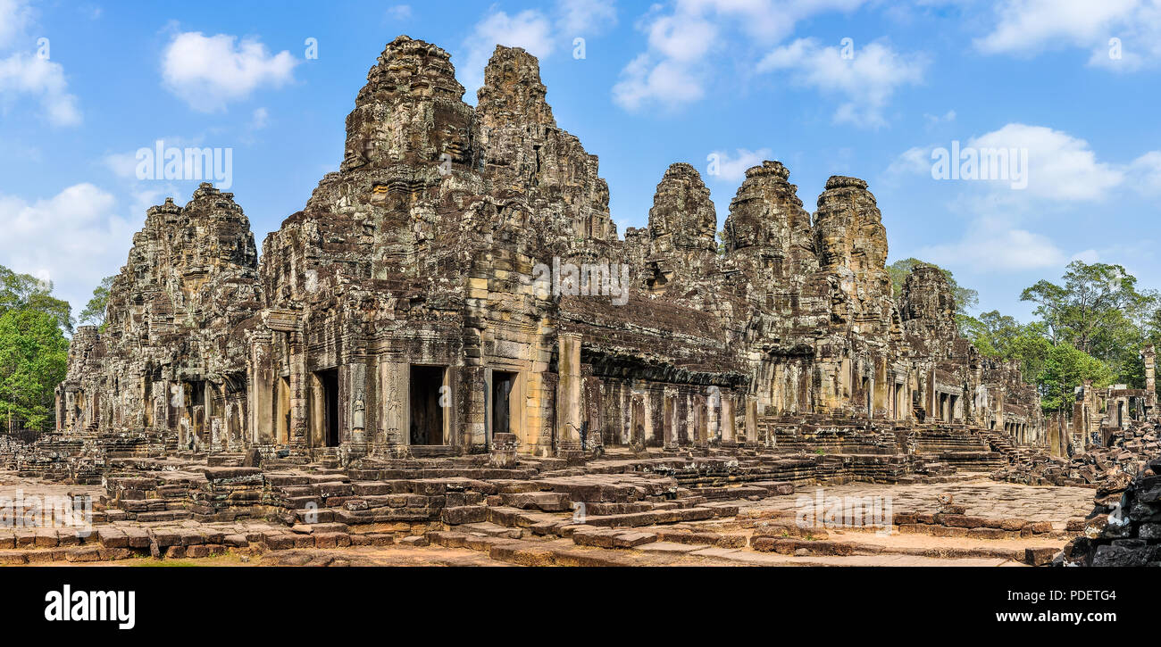 Panoramic view of the Bayon Complex in the ruins of Angkor Wat, Cambodia - Stock Image