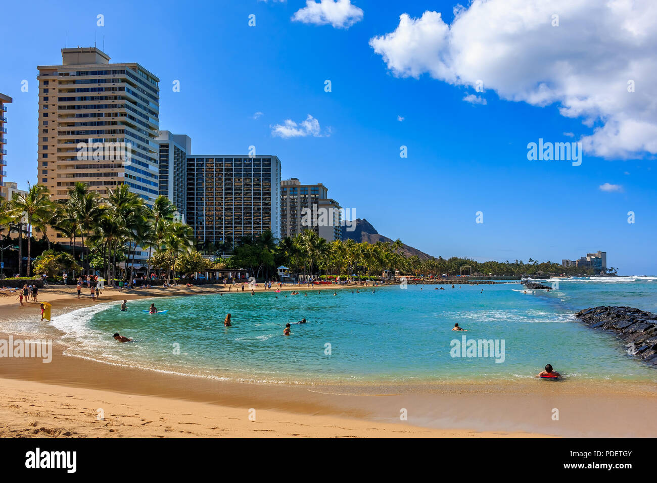Day time view of Waikiki Beach and Diamond Head in Honolulu in Hawaii, USA - Stock Image