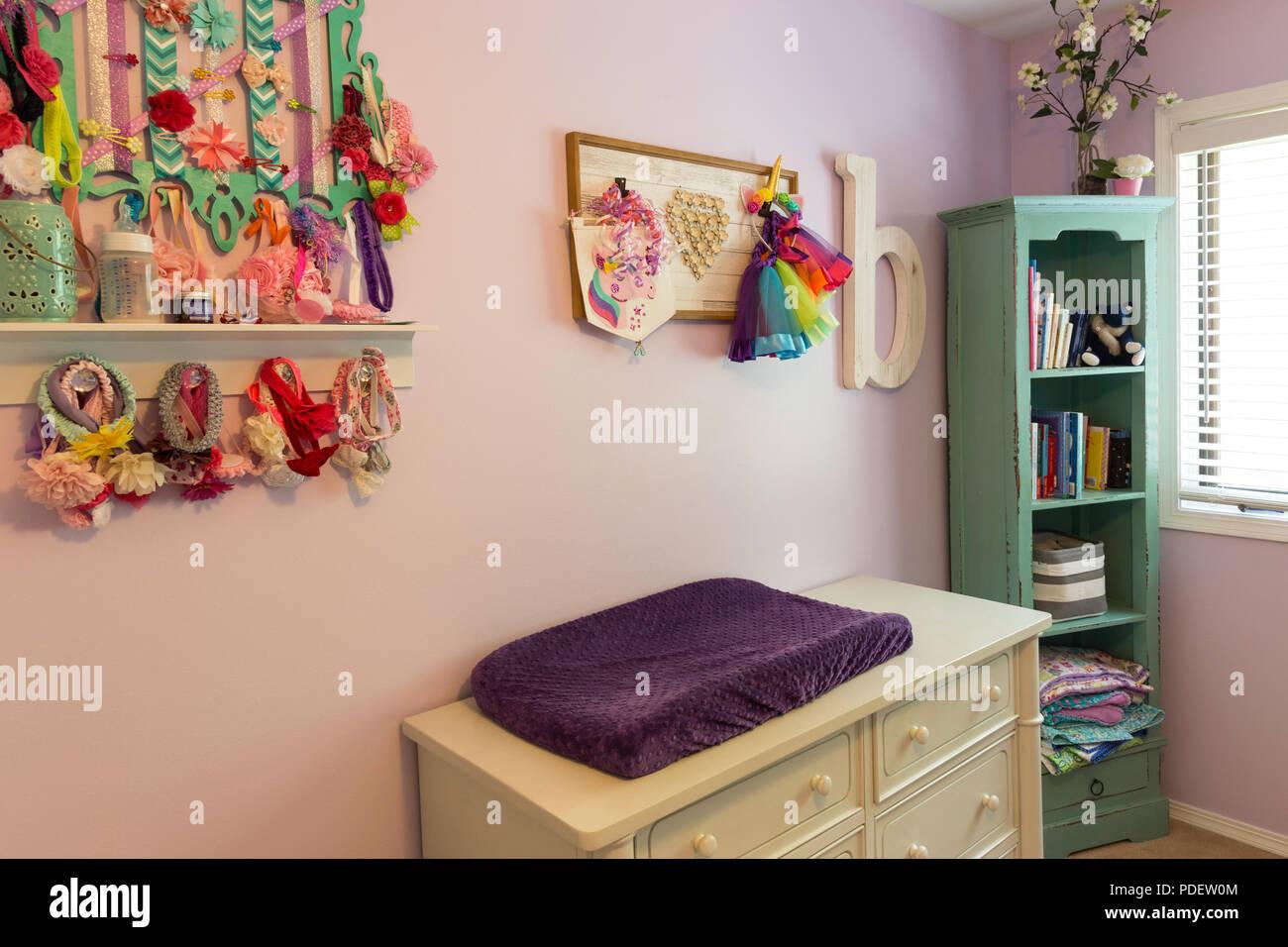 Home Interior Baby Girl's Room, USA - Stock Image