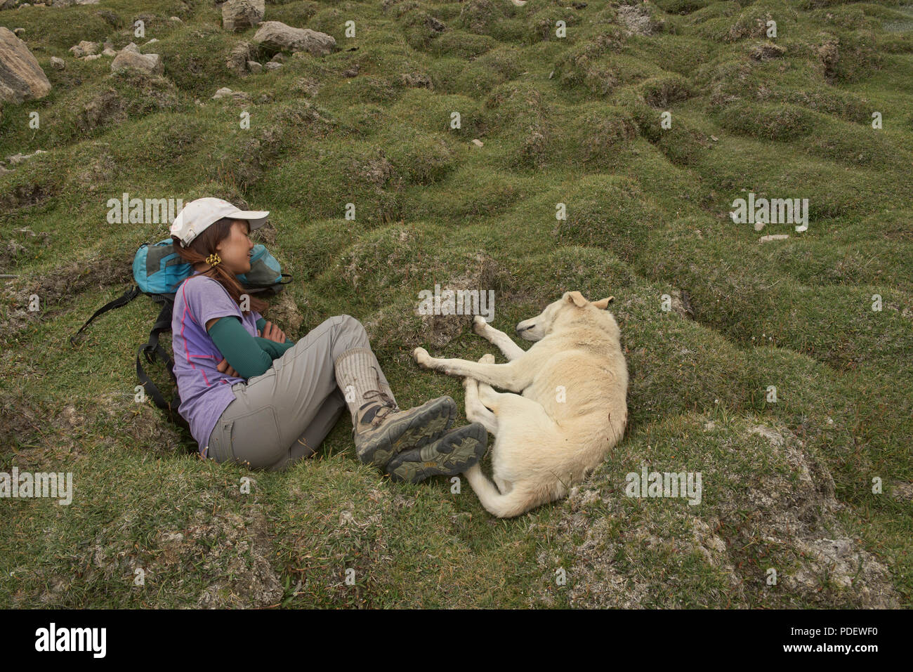 Asleep with the dog while trekking in the Wakhan Valley, Tajikistan - Stock Image