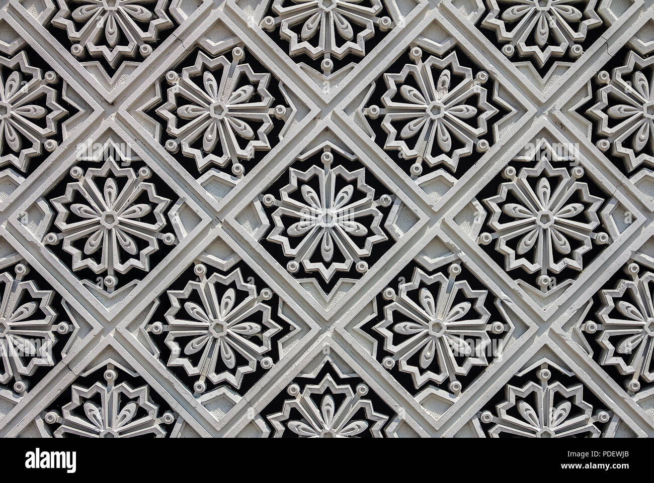 Malaysia, Kuala Lumpur - August 16, 2013: Carved tile decorations on the outer wall of the New Royal Palace, Istana Negara (national palace) in Kuala  - Stock Image