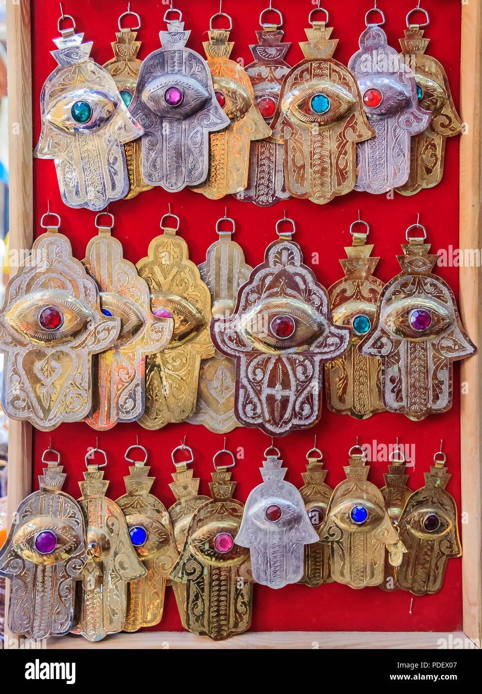 Ethnic Handmade Jewelry Representing Hamsa Or Hand Of Fatima Symbol