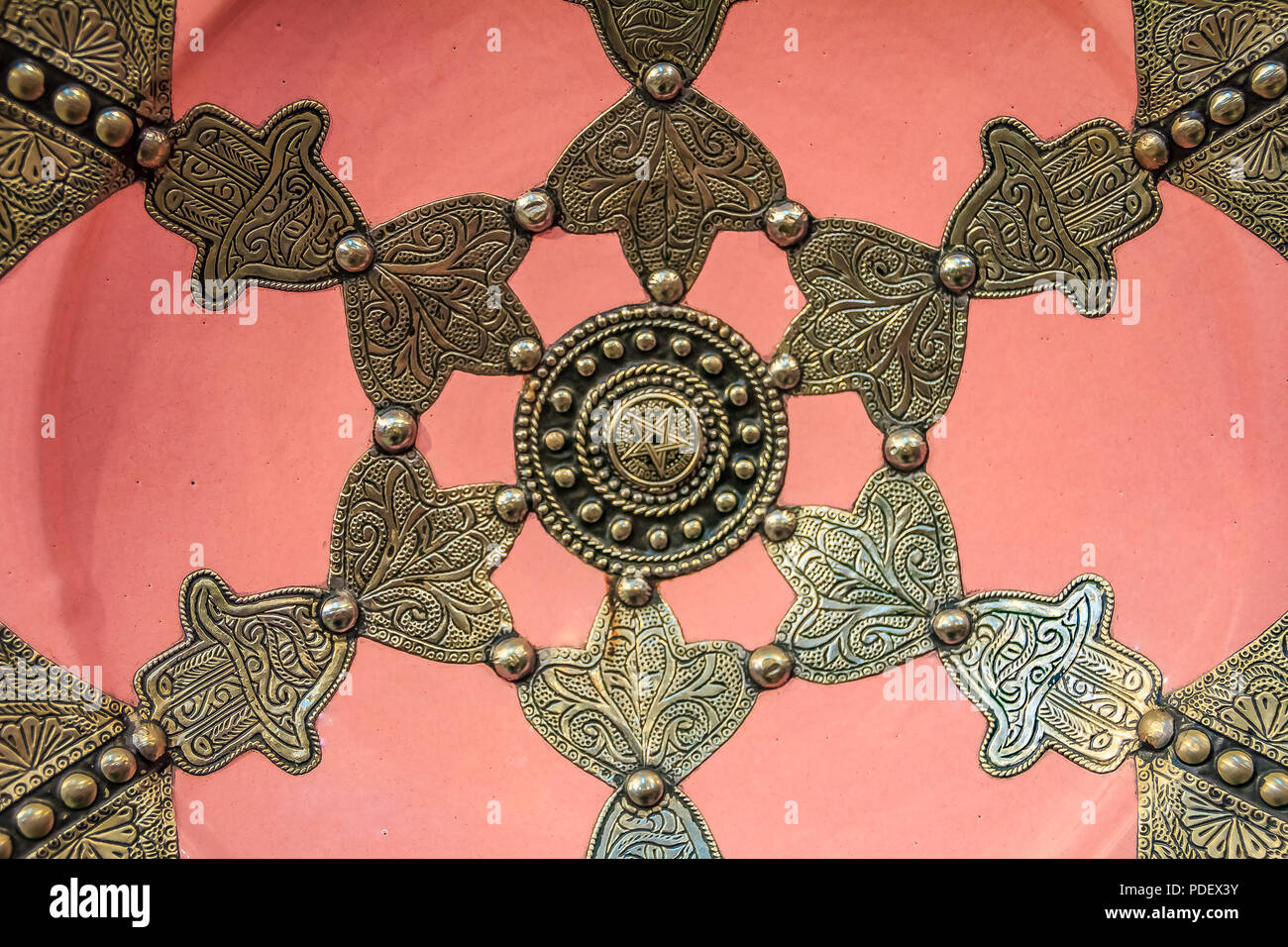 Traditional Moroccan Embellished Plate Decorated With Ornate Silver