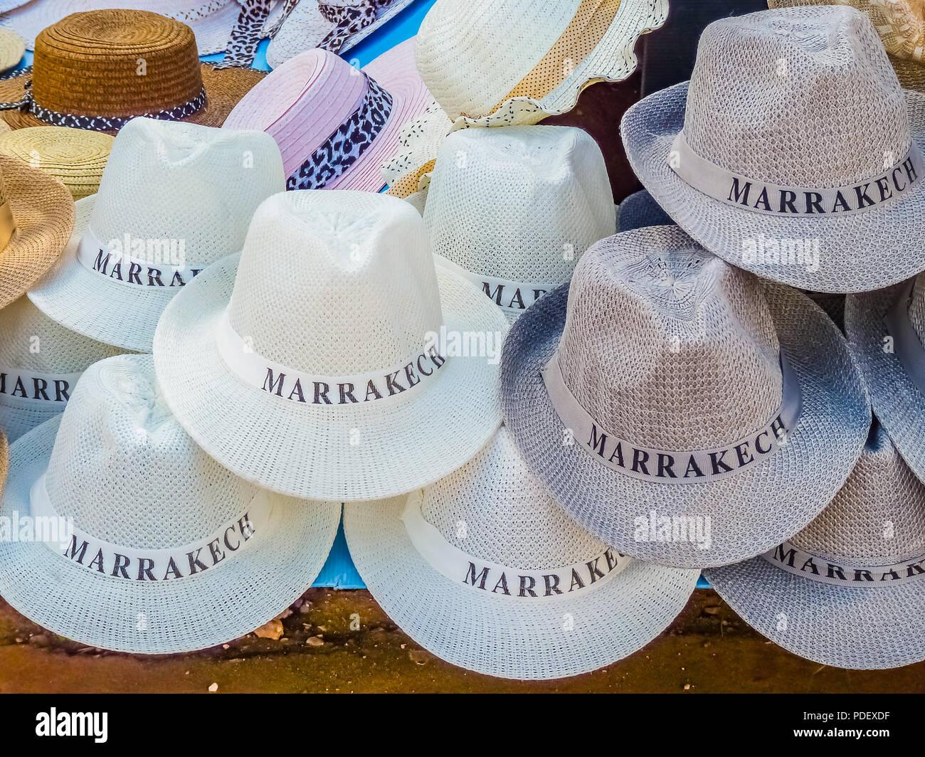 e140e9c7 Tourist souvenir fedora hats in a souk in Marrakech, Morocco - Stock Image