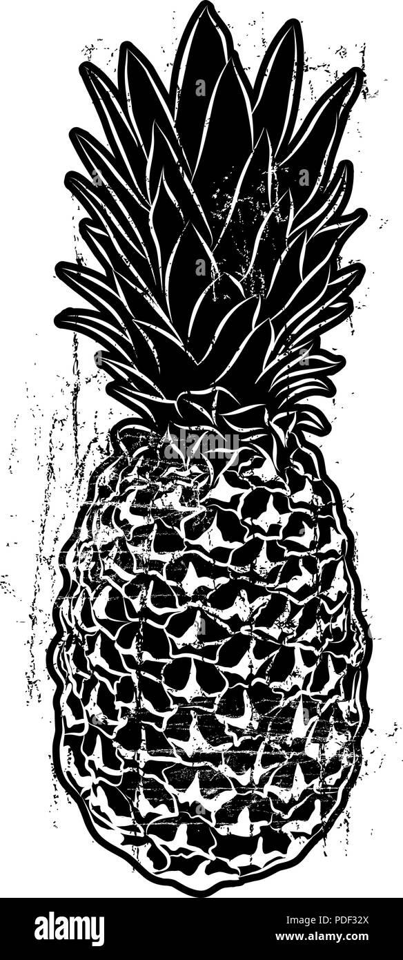 Woodcut Style Pineapple - Stock Image