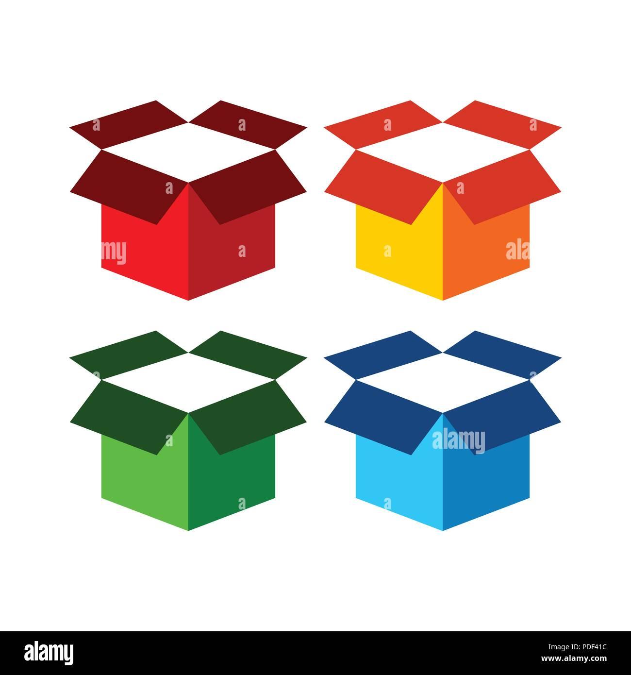 Freight Open Box Vector Icon Symbol Graphic Logo Design Template - Stock Image