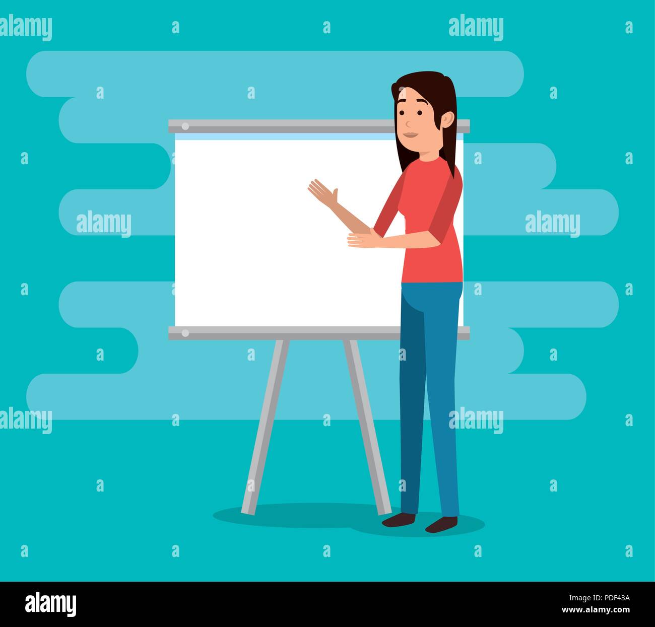 teacher woman with training board - Stock Vector