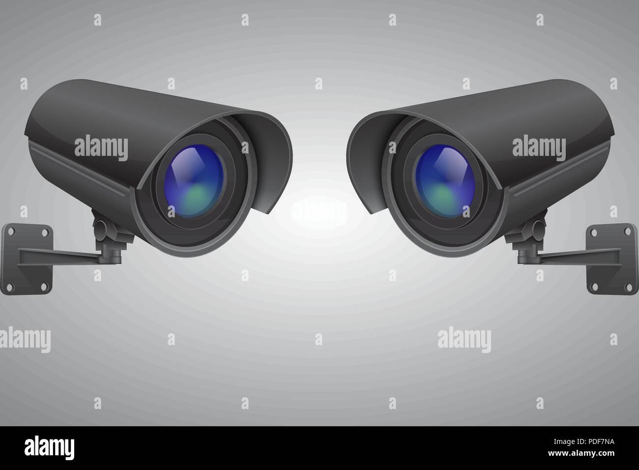 Security cameras. Black CCTV surveillance system on gray background - Stock Vector