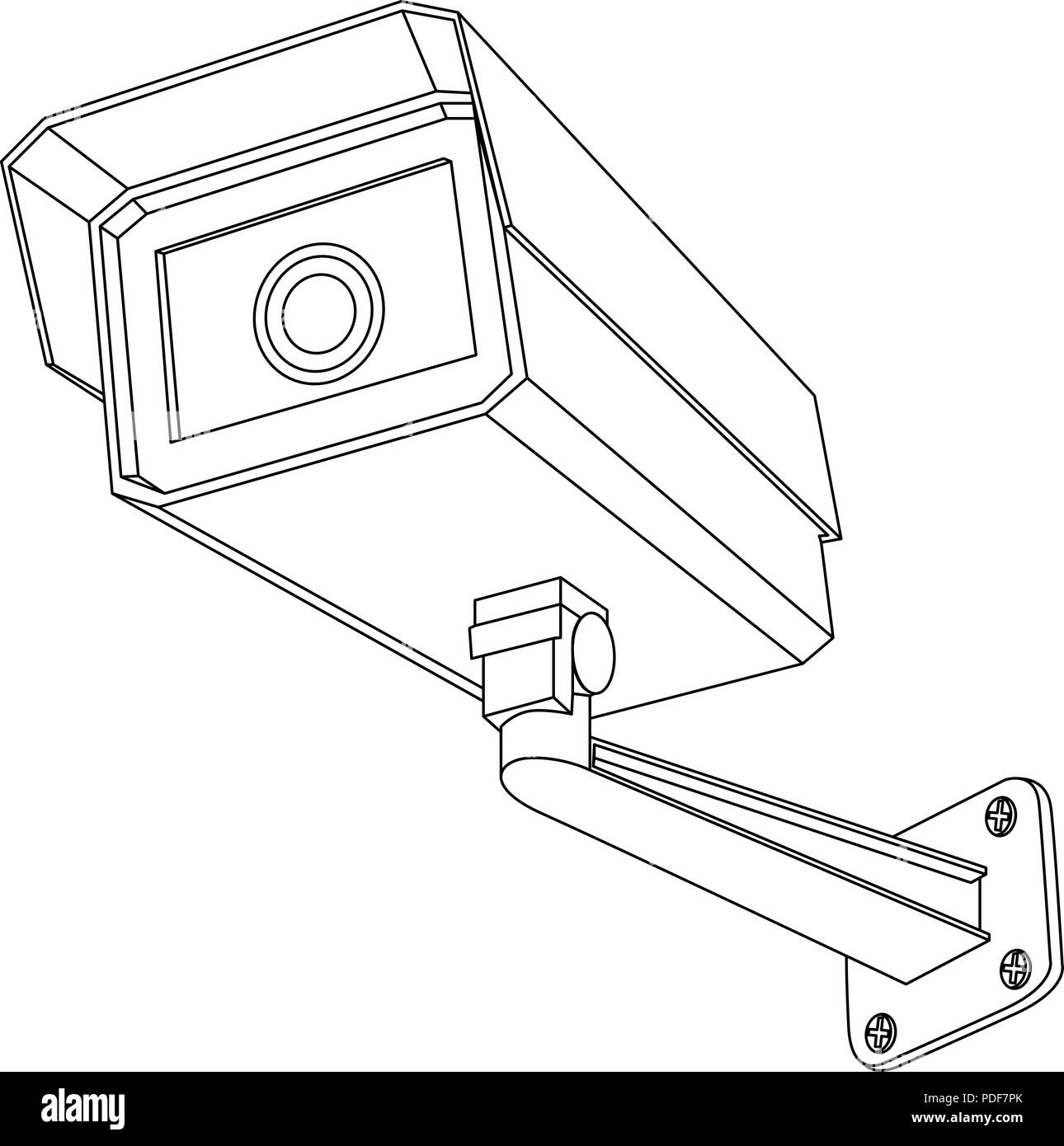 Ip Stock Vector Images Alamy Cctv Wiring Diagram Pdf Security Camera Outline Drawing