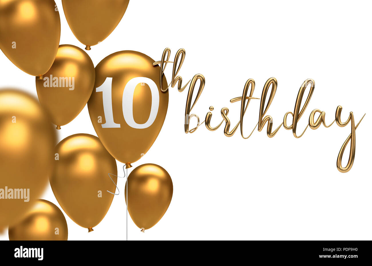 Gold Happy 10th Birthday Balloon Greeting Background 3D Rendering