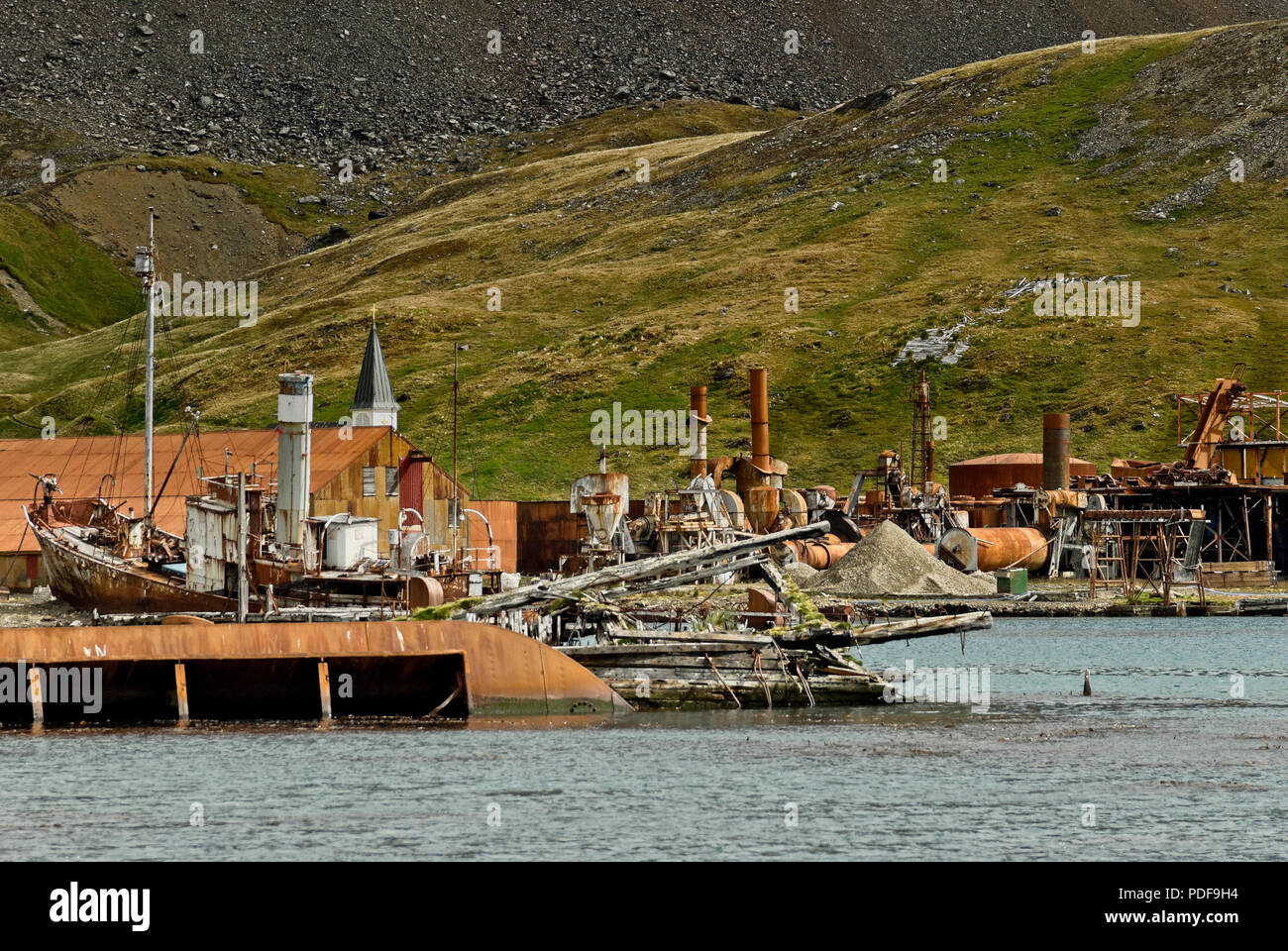 Derelict and decaying whaling ship Petrep in Grytviken harbour, South Georgia, Antartica. - Stock Image