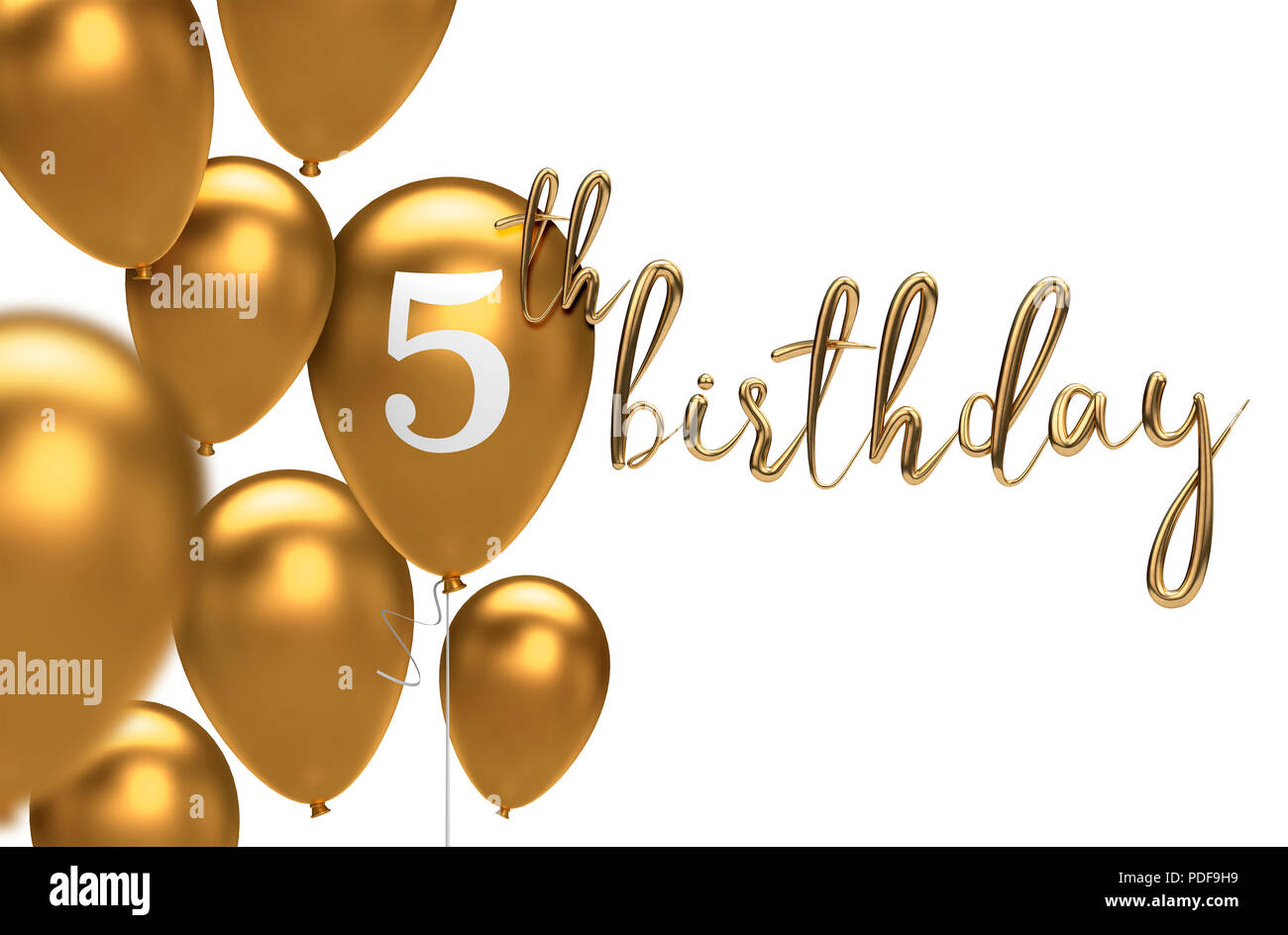 Gold Happy 5th Birthday Balloon Greeting Background 3D Rendering
