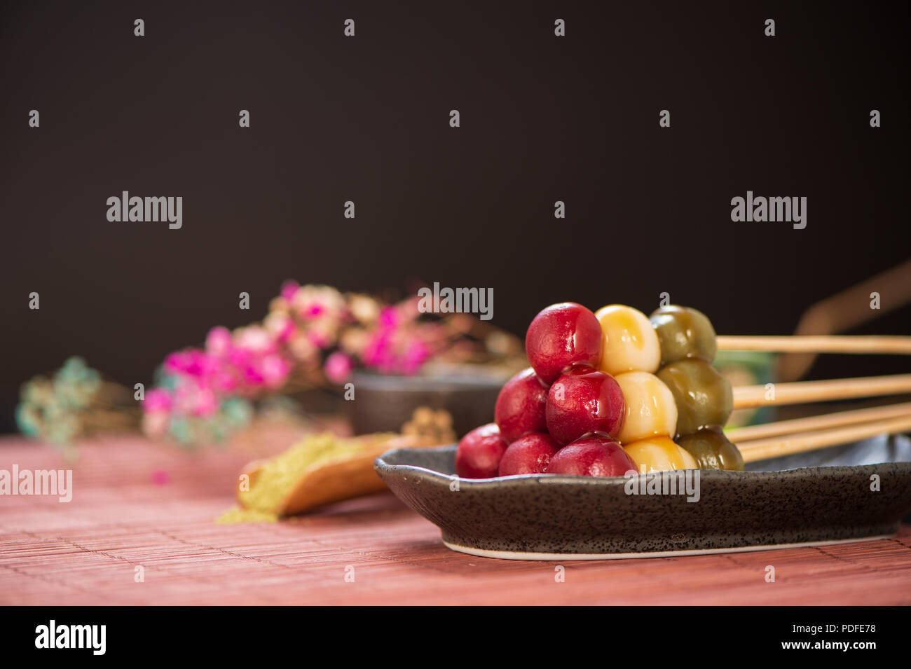Japanese Dango Dessert With 3 Different Color In Pink Red White And Green Recipe Hanami Dango Tsukimi Dango Copy Space Stock Photo Alamy