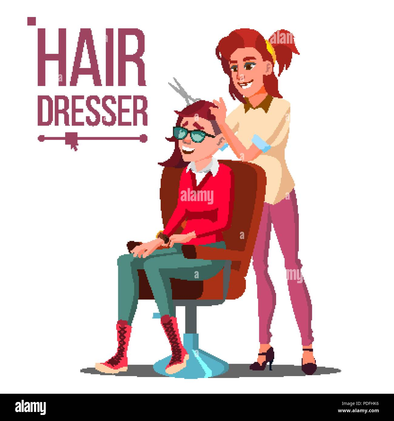 Hairdresser And Woman Vector Beauty Salon Hairbrush Haircut Styling Isolated Flat Cartoon Illustration Stock Vector Image Art Alamy