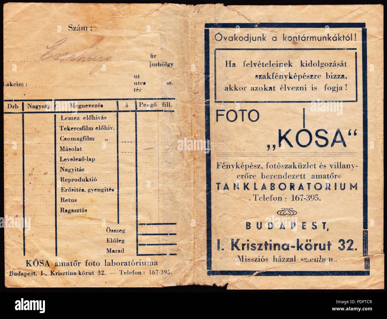 186 Krisztina körút 32., Kósa fotószaküzlete. Fortepan 81543 - Stock Image