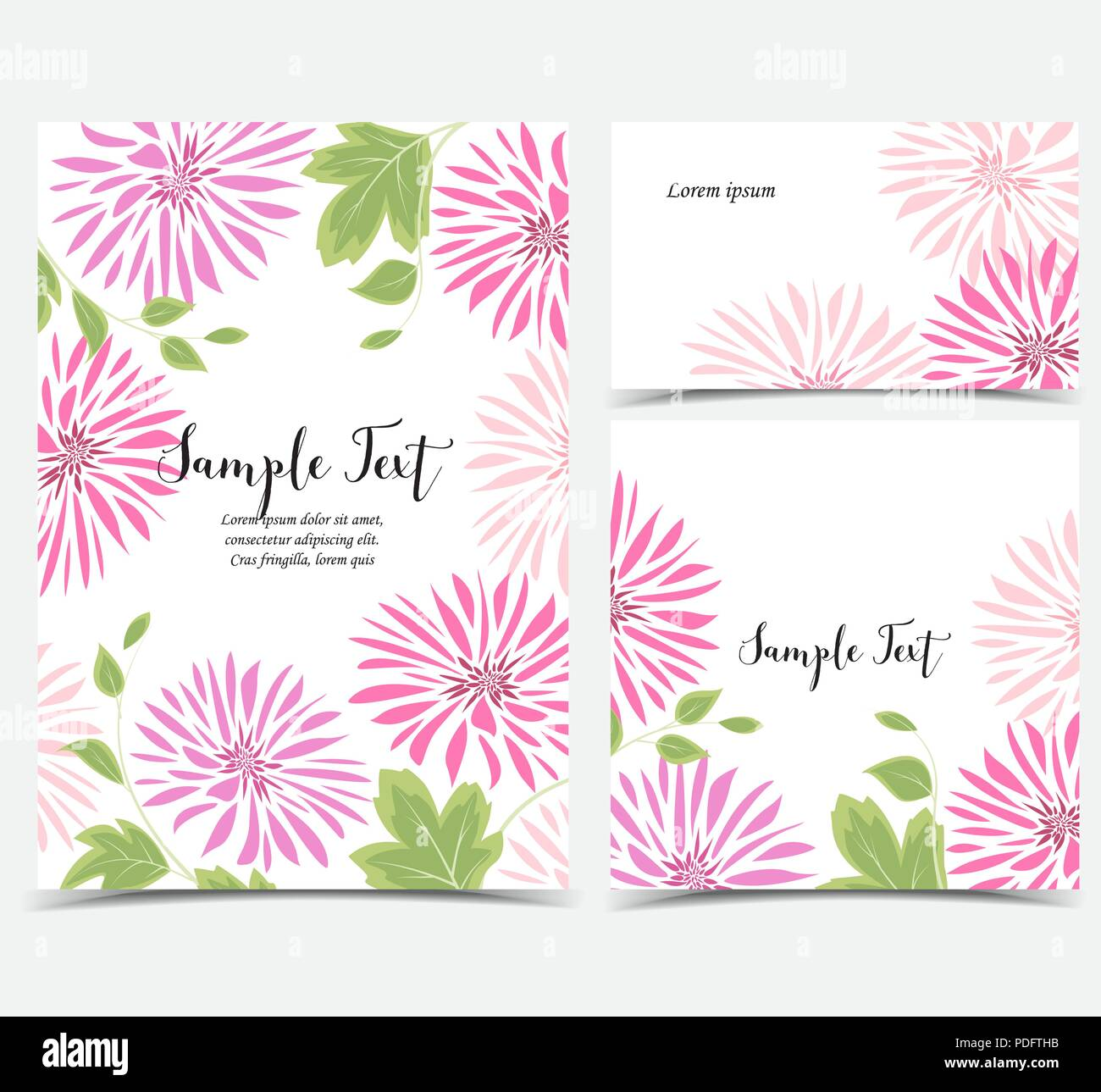 Vector Illustration Of Dahlia Flower Background With Pink Flowers